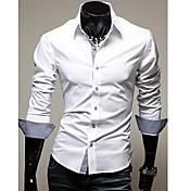 Camisa De los hombres Un Color Casual / Trabajo / Formal-Acrílico / Mezcla de Algodón / Licra-Manga Larga-Negro / Azul / Marrón / Oro /