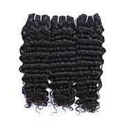 人間の髪編む マレーシアンヘア ウェーブ 3個 ヘア織り