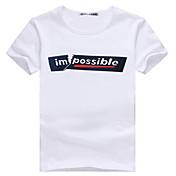 男性用 プリント カジュアル / オフィス / スポーツ Tシャツ,半袖 コットン混 / 伸縮素材,ホワイト / グレー