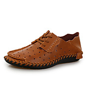 Hombre-Tacón Plano-Confort-Zapatos de taco bajo y Slip-Ons-Exterior Oficina y Trabajo Informal-Cuero-Café Marrón Azul