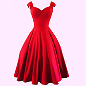 Dámské Sexy / Vintage Party/Koktejl Velké velikosti / A Line Šaty Jednobarevné,Bez rukávů Srdcový výstřih Délka ke kolenům Červená / Černá