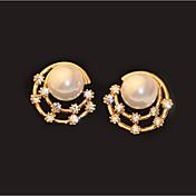 Pendientes cortos Perla Perla Artificial La imitación de diamante Legierung Moda Pantalla de color Joyas 2 piezas