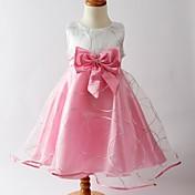 una línea de longitud del té vestido de niña de flores - cuello joya sin mangas de satén con la cinta por la moda hua cheng