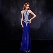 フォーマルイブニング ドレス トランペット/マーメイド ハイネック フロア丈 チュール とともに クリスタル装飾