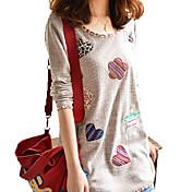 Mujer Simple Casual/Diario / Tallas Grandes Verano Camiseta,Escote Redondo Retazos Manga Larga Poliéster Marrón Medio