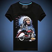 Camisetas ( Algodón )- Casual/Bonito/Fiesta/Trabajo Redondo Manga Corta para Hombre