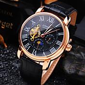Hombre Reloj de Pulsera El reloj mecánico Cuerda Automática Resistente al Agua Huecograbado Piel Banda De Lujo Negro Marrón