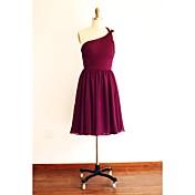 膝丈 シフォン ブライドメイドドレス - Aライン ワンショルダー とともに サイドドレープ