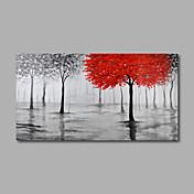 手描きの 抽象画 花柄/植物の 抽象的な風景画 水平パノラマ,Modern 1枚 ハング塗装油絵 For ホームデコレーション