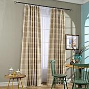 Dos Paneles Campestre Rayas Azul / Tierra Dormitorio Mezcla de Lino y Algodón Panel Cortinas cortinas