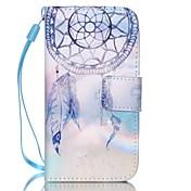 iPhone 4 / 4S用カンパニュラパターンPUレザー素材フリップカード電話ケース