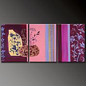 Pintada a mano Floral/BotánicoModern Tres Paneles Lienzos Pintura al óleo pintada a colgar For Decoración hogareña