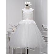 Una línea de longitud del tobillo vestido de niña de flores - encaje cuello sin mangas de cuello por lan ting novia ®