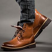 Hombre Zapatos Cuero Primavera Otoño Invierno Botas Camperas Botas de Combate Confort Botas Botines/Hasta el Tobillo Con Cordón Para