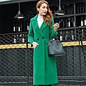 De las mujeres Un Color Abrigo Manga Larga Invierno Poliéster Rojo / Negro / Verde Grueso
