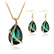 Juego de Joyas Cristal imitación de la esmeralda Cristal Rosa Oro Plateado Gotas de Ojos Blanco Verde Azul Collares Pendientes Para Fiesta