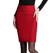 女性 プラスサイズ スカート ゼブラプリント キュート 膝上 コットン / ポリエステル / ナイロン マイクロ弾性 秋
