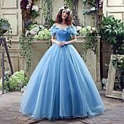 カラーコート・トレイン・オフ・ザ・ショルダー・ジョージットの結婚式ドレス