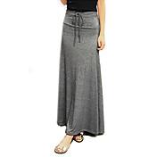 女性の綿固体マキシスカート