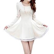 婦人向け Uネック ドレス , ポリエステル / コットン混 / スパンデックス 膝上 長袖