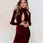 De las mujeres Corte Bodycon Vestido Sexy / Playa Un Color Mini Cuello Barco Poliéster