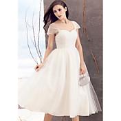 Lanting Bride® A-Linie Svatební šaty K lýtkům Královna Anna Tyl s Křížení