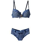 De las mujeres Bikini - Floral Push-Up / Sujetador Acolchado / Sujetador con Soporte - Halter - Nailon / Espándex