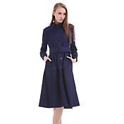 婦人向け シンプル シース ドレス , ソリッド ミディ シャツカラー ポリエステル