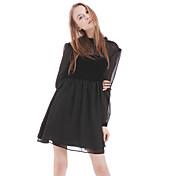 ブティックの女性のカジュアル/日のパッチワーク緩いドレス、膝ポリエステル上記のラウンドネック