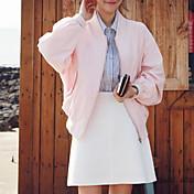 婦人向け カジュアル/普段着 春 ジャケット,ストリートファッション スタンド ソリッド ピンク / ブラック / グリーン コットン / ポリエステル 長袖