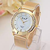 女性用 ファッションウォッチ ダミー ダイアモンド 腕時計 模造ダイヤモンド クォーツ 合金 バンド ゴールド