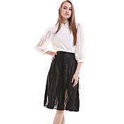 婦人向け ワーク / シンプル 膝丈 スカート,シルク / ポリエステル マイクロエラスティック