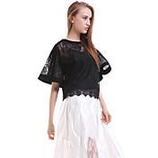 婦人向け カジュアル/普段着 ブラウス,シンプル ラウンドネック ソリッド ホワイト / ブラック シルク 半袖 半透明