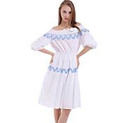ブティックの女性のカジュアル/日ジャガードシースドレス、膝ポリエステル上記のボートネック