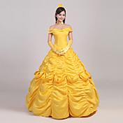 Disfraces de Cosplay Princesas / Cuento de Hadas Cosplay de Películas Amarillo Un Color Falda / Tocados / Guantes / Enagua / Cinta
