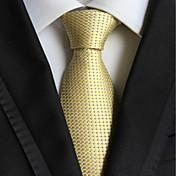 光の黄金チェックジャカード織の男性のネクタイネクタイ