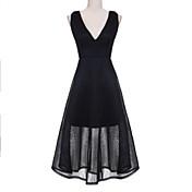 婦人向け セクシー / ストリートファッション Aライン ドレス,ソリッド マキシ Vネック ナイロン