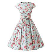 casquillo de las mujeres mangas de flores vestido de flores de menta, la tapa de la vendimia 50s mangas vestido de oscilación rockabilly