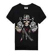 男性用 プリント カジュアル / スポーツ Tシャツ,半袖 コットン,ブラック