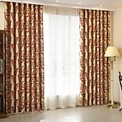 Dos Paneles Moderna Flores / Botánica Rojo Sala de niños Poliéster Blackout cortinas cortinas