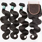 Trama del pelo con cierre Cabello Brasileño Ondulado Grande 3 Piezas los tejidos de pelo