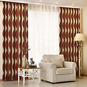 Dos Paneles Moderna Rayas Gris / Morado / Rojo Sala de niños Poliéster Blackout cortinas cortinas