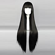 Pelucas de Cosplay InuYasha Sango Negro Largo / Rizado Animé Pelucas de Cosplay 80 CM Fibra resistente al calor Mujer