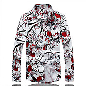 Pánské Květinový Běžné/Denní Práce Velké velikosti Košile Bavlna Nylon Dlouhý rukáv