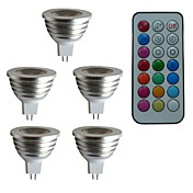 GU5.3(MR16) LEDスポットライト MR16 1 ハイパワーLED 300 lm RGB 明るさ調整 リモコン操作 装飾用 DC 12 AC 12 V 5個