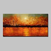 手描きの 抽象画 風景 花柄/植物の 抽象的な風景画 横長,Modern 1枚 キャンバス ハング塗装油絵 For ホームデコレーション