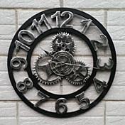 hierro de época reloj de pared de silencio estilo europeo (color plateado)