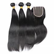Trama del pelo con cierre Cabello Brasileño Recto los tejidos de pelo