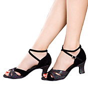 Zapatos de baile(Negro / Azul / Plata / Multicolor) -Latino-No Personalizables-Tacón Cubano