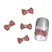 10個入りピンクのラインストーン蝶ネクタイ合金アクセサリー指先ネイルアートの装飾